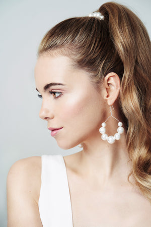 Swarovski pearl statement bridal earrings