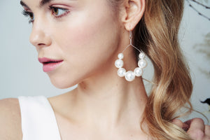 Large Swarovski pearl chandelier earrings - Mona