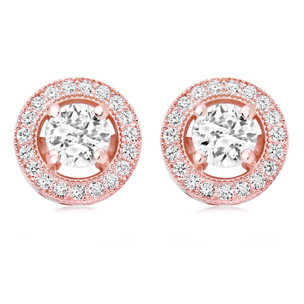 Ophelia round rose gold pave cubic zirconia crystal wedding stud earrings