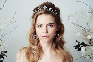 Silver Star tiara and earrings set