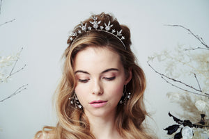 Silver Star wedding crown and celestial earrings set