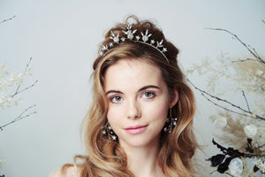 Orion celestial crown worn with Lunaria Swarovski Crystal celestial earrings in silver