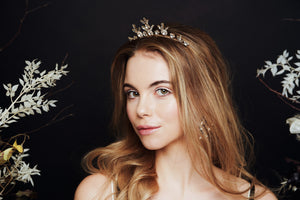 Celestial Star crown tiara in Swarovski Crystal Orion worn with loose waves