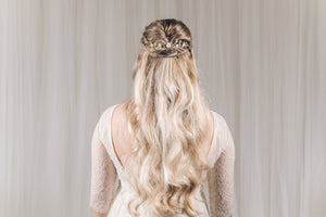 Small gold flower bridal hairvine for back of updo or half up hair - Phoebe