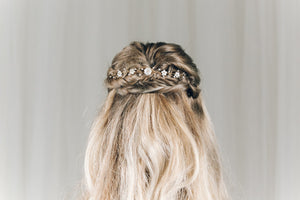 Small gold flower wedding hair vine for back of updo or half up hair - Phoebe