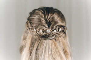 Small gold flower wedding hairvine for back of updo or half up hair - Phoebe