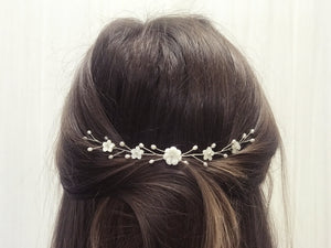 Silver small flower bridal hair vine for back of updo or half up hair - Phoebe