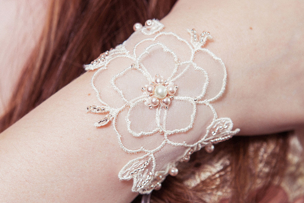 Primrose pearl beaded floral wedding cuff