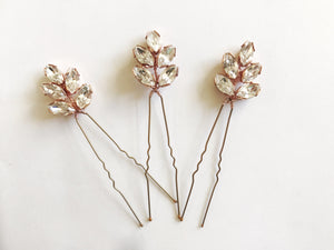 Rose gold crystal hair pins - Lyra