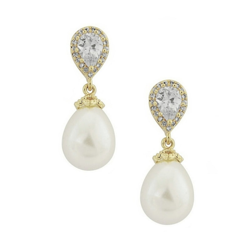 Gold crystal and pearl vintage drop bridal earrings - Rosa