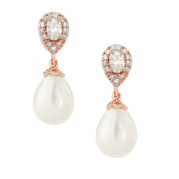 Rose gold crystal and pearl vintage style droplet wedding earrings - Rosa