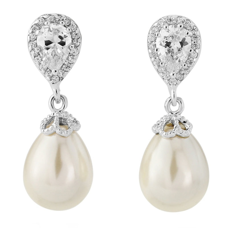 Silver crystal and pearl vintage drop bridal earrings - Rosa