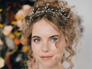 pearl leaf wedding crown