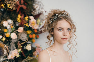 pearl wedding leaf headband