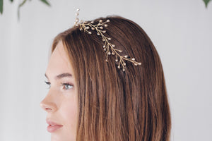 Delicate botanical crystal or pearl branch hair vine - Rosemary