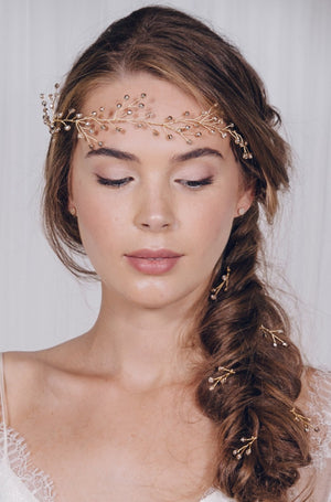 Simple crystal and pearl wedding hair pins set - Haillie