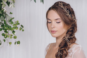 Simple crystal wedding hairvine headband - Amy