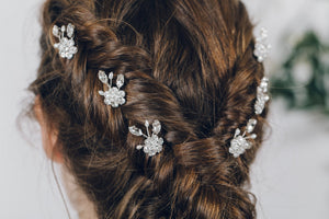 Floral crystal and pearl bridal hair pins