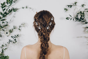 flower crystal bridal hair pins plait