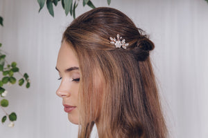 Crystal flower freshwater pearl bridal hair pin - Saffron