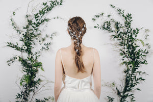 Dutch braid plait with crystal wedding hair vine and bridal hair pins