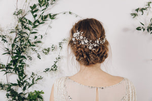 wildflower asymmetrical crystal wedding hair vine