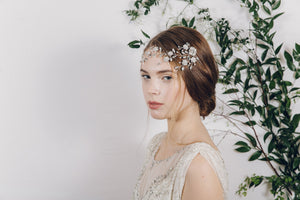 crystal and pearl wild flower bridal hair vine