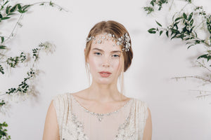 Silver crystal and pearl trailing wedding hair vine forehead band