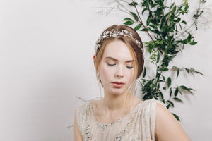 crystal and pearl floral vine wedding headband