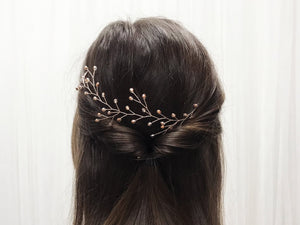Rose gold crystal botanical branch hair vine for updo or half up wedding hair - Small Rosemary