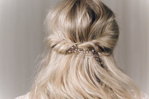 Rose gold pearl botanical branch hair vine for updo or half up wedding hair - Small Rosemary