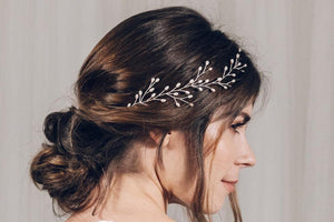 Silver pearl botanical branch hairvine for updo or half up wedding hair - Small Rosemary