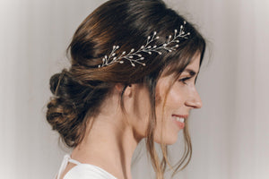 Silver pearl botanical branch hair vine for updo or half up wedding hair - Small Rosemary