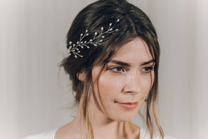 Silver pearl botanical branch hair vine for updo or half up bridal hair - Small Rosemary