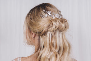 Swarovski crystal and pearl silver flower bridal hair vine - Small Sydney