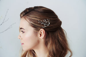 Single Silver Leaf Swarovski Crystal hairpin worn with half updo - Sophia