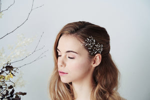 Two Silver Swarovski Crystal leafy branch hairpins- Sophia