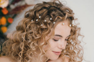 Star Swarovski crystal wedding headband and hairpins set - Star