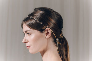 Star Swarovski crystal wedding headband in gold - Star