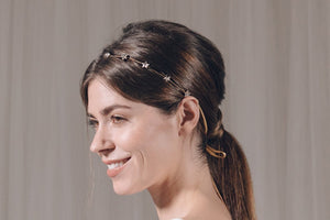 Gold star Swarovski crystal wedding ribbon tie headband hair vine- Star