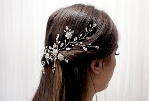 Silver Swarovski crystal and freshwater pearl wedding hair vine - Stella