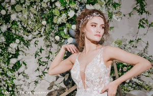 Debbie Carlisle Unveiled Magazine Stella and Ella Silver Crystal Flower Hair Vines worn together