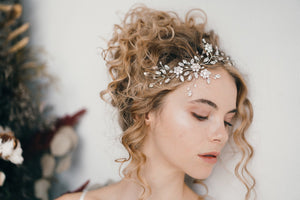 Botanical crystal wedding hairvine