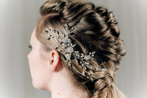 Floral silver updo or half up hairvine in silver Swarovski crystal and freshwater pearl - Stella