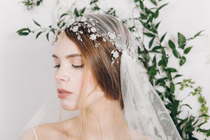 Juliet cap veil with statement silver crystal wedding headdress