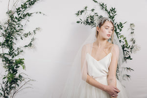 Bohemian silver crystal hair vine and Juliet cap veil
