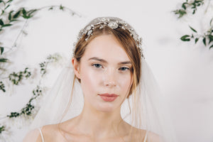 Romantic crystal and pearl wedding headdress with Juliet Cap veil