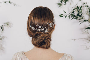 Silver rhinestone and pearl wedding hair vine