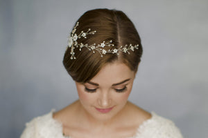 Gold rose gold or silver flower bridal hair vine comb - Sylvie
