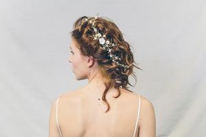 Sylvie gold and ivory trailing bridal hair vine comb